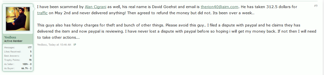 DigitalPoint Forums proof of David G being a scammer