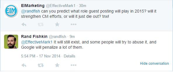 Rand Fiskin prediction on guest blogging