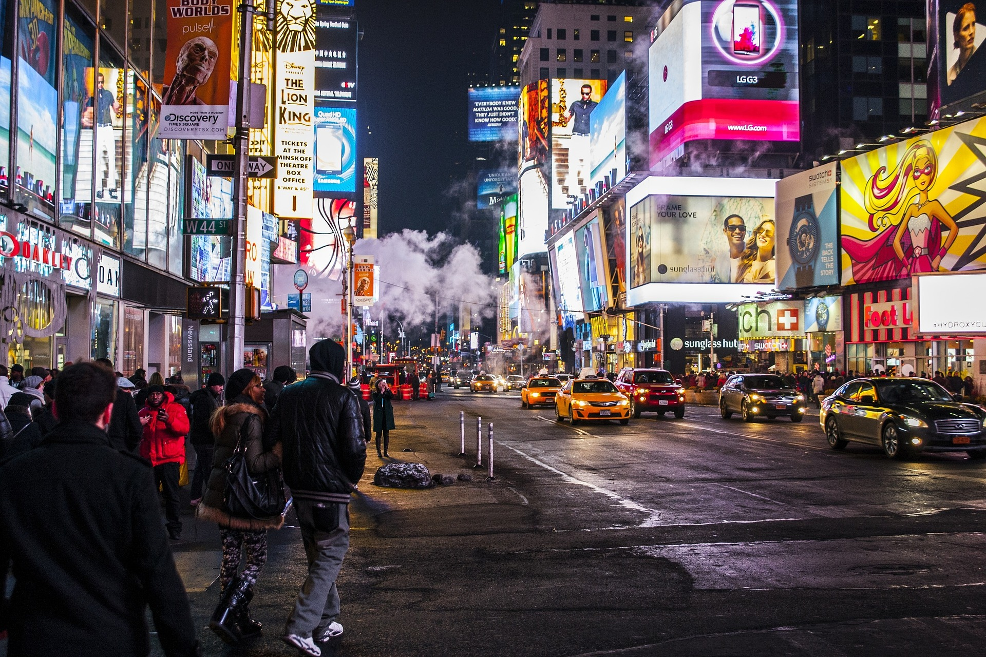 Busy street at night